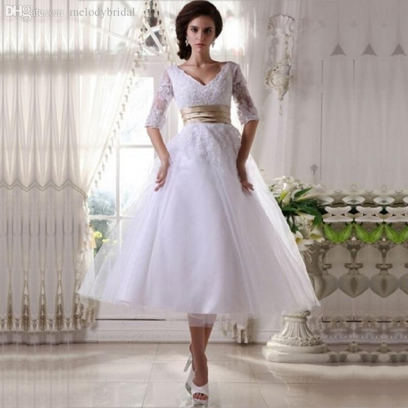 6ea6839c66a0 Discount Vintage V Neck Half Sleeves Tulle Wedding Dresses With Satin Belt Tea  Length Bridal Gowns With Lace Appliques M0805 Classic Lace Wedding Dresses  ...