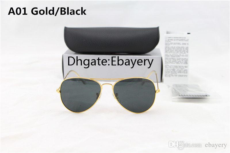 Free Ship Brand Designer Classic Pilot Sunglasses Mens Women's Sun Glasses Eyewear Gold Black 58mm Glass Lenses With Box Exceptional Quality