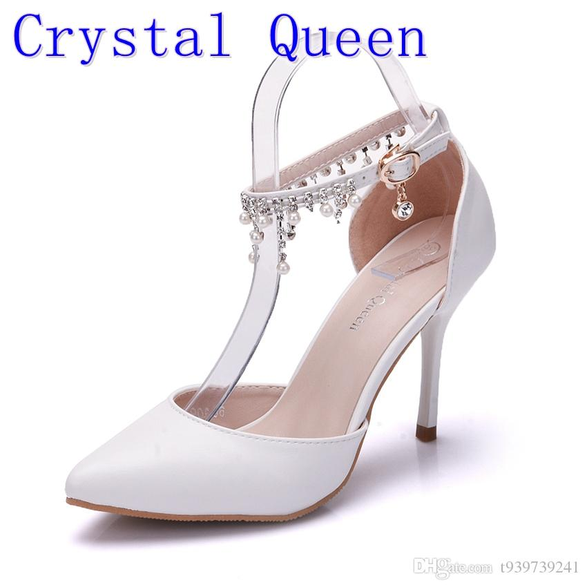 Mujer Cristal Con De Tacón Zapatos Satén Plataforma Baile Blanco Las Vestir Queen Alto Nupcial Boda Flecos wmN8vn0