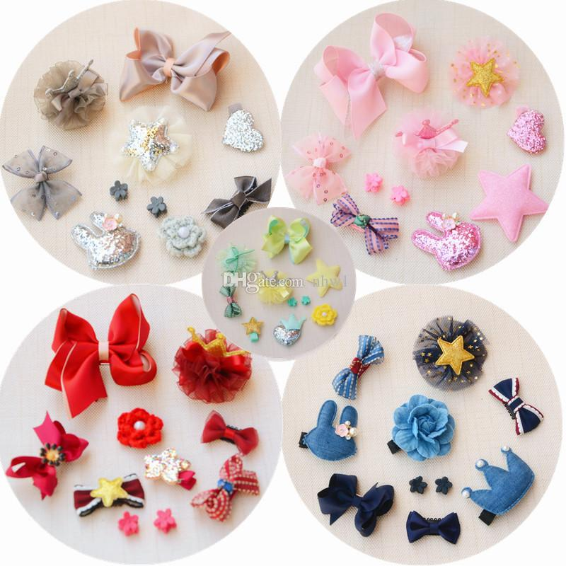 New Fashion Cute Baby Girls Hairpins Set Cartoon Rabbit Flower Bow Cloth Bowknot Hair Clips With Holding Ribbon Kids Hairpins