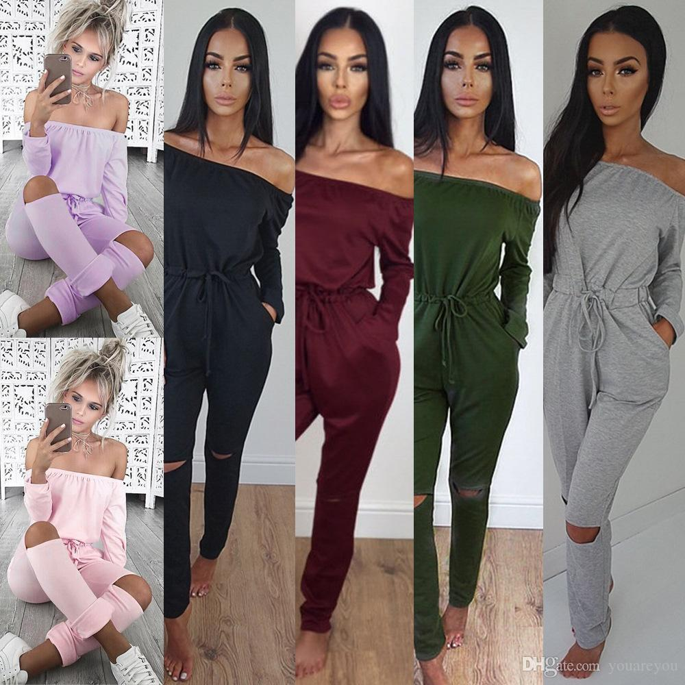 be72d419386 2019 Popular Autumn Women Solid Slim Off Shoulder Strapless Tops Long Hollow  Out Pants Jumpsuit  001 75 From Youareyou