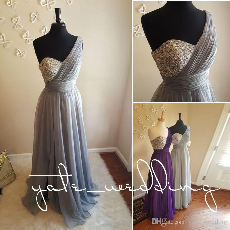 Gümüş Gri Bir Omuz Gelinlik Modelleri Kristal Boncuklu Pileli Şifon Kat Uzunluk Flowy Mor Düğün Konuk Elbiseleri Onur Hizmetçi