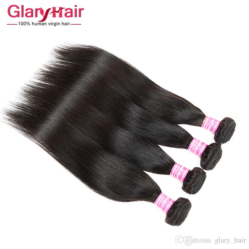Ucuz Işlenmemiş Brezilyalı Remy Saç Dokuma Perulu Ipek Düz Saç Patlama Siyah Perulu Bakire Saç Uzatma Fabrika Toptan Fiyat