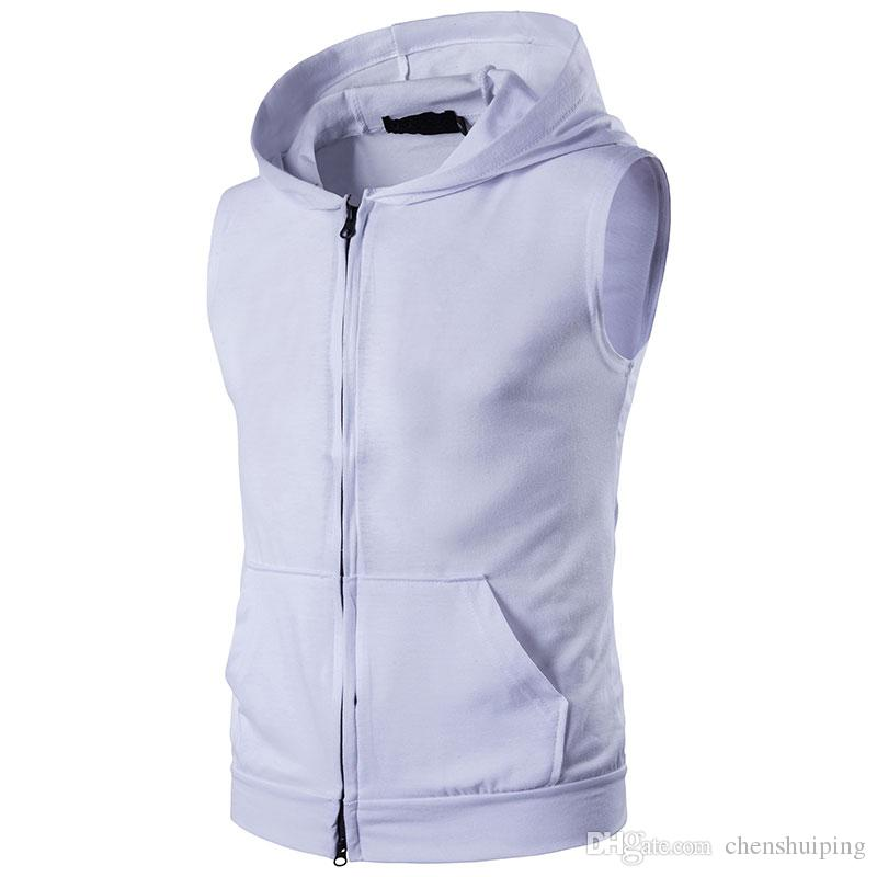 Mens Gym Muscle Hoodie Hooded Vest Singlets Tank Tops Bodybuilding Fitness Sleeveless Zipper Tees Vest
