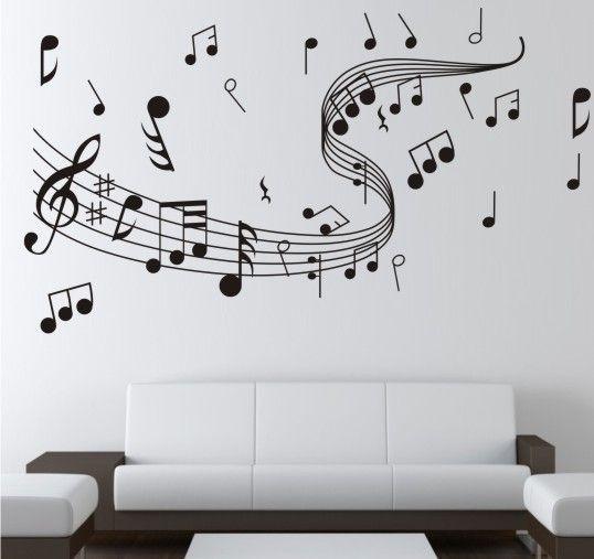 Pegatinas De Las Paredes Símbolo de Música Patrón de Pared Paster Diy Pintado A Mano Wallpaper Arte Decoración Pegatinas Calcomanías Dormitorio de Alta Calidad 5lh A R