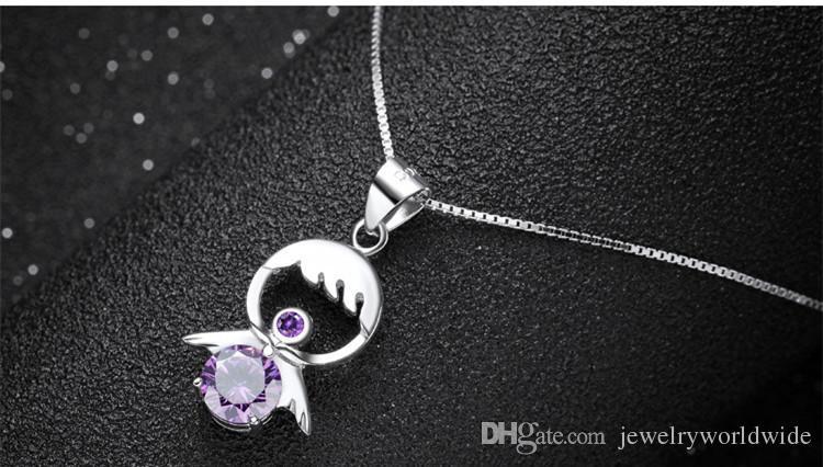 Angel Crystal colgante para collar genuino plata de ley 925 100% material honesto joyería de moda 1.2x2cm 1.7g