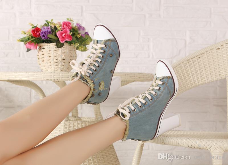 New Fashion Womens Schuhe Casual Waschen Denim Cowboy Schuhe Stiltto Heels Schnüren Chunky Heel Boot