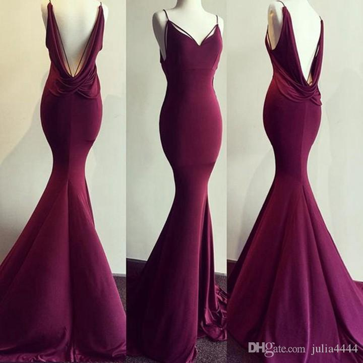 Sexy Evening Dresses Long 2019 Real Photos Backless Stretch Satin Custom Made Purple Mermaid prom formal Gowns With Sweep Train