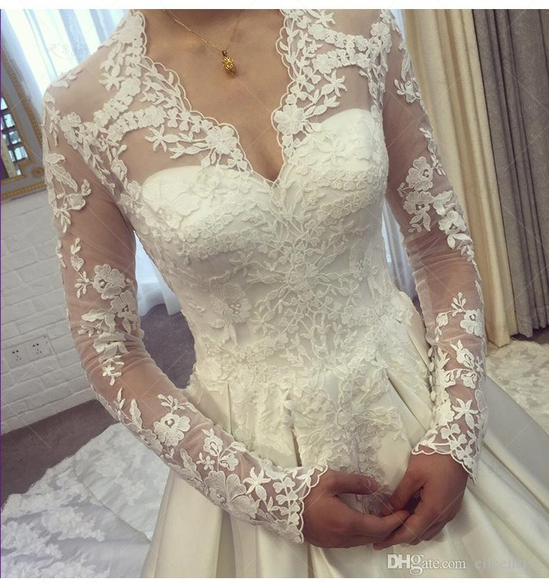 2019 Princess Kate wedding dresses long sleeve poet V neck satin floor length lace up wedding dresses for bridal marriage