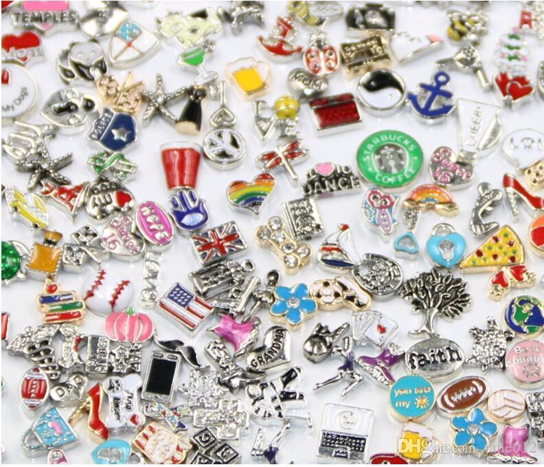 Hot por atacado 100 pçs / lote flutuante calçadeira encantos Mistura em massa Muitos estilos multi desenhos encaixes de jóias para liga de zinco Medalhas pingente