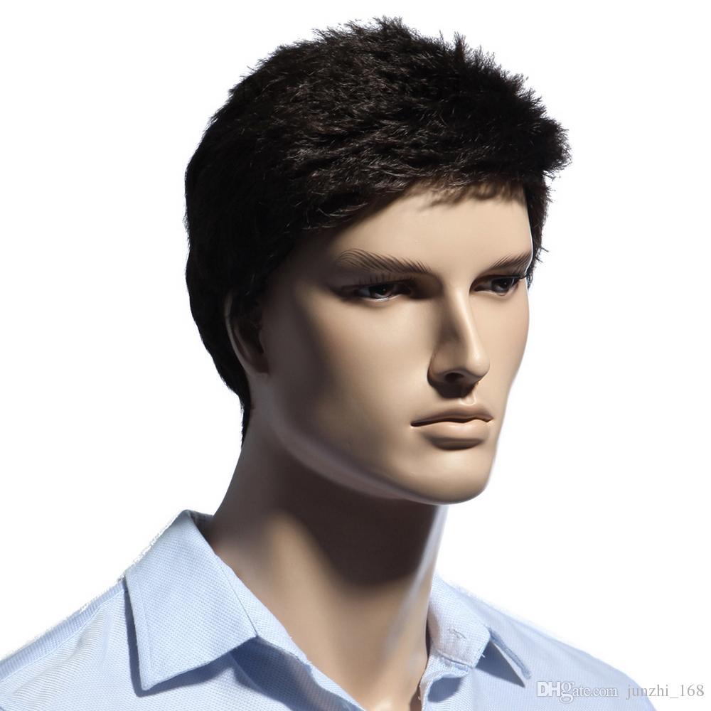 Perruque de cheveux des hommes courts brun foncé 6inch pour les hommes blancs synthétiques résistants à la chaleur