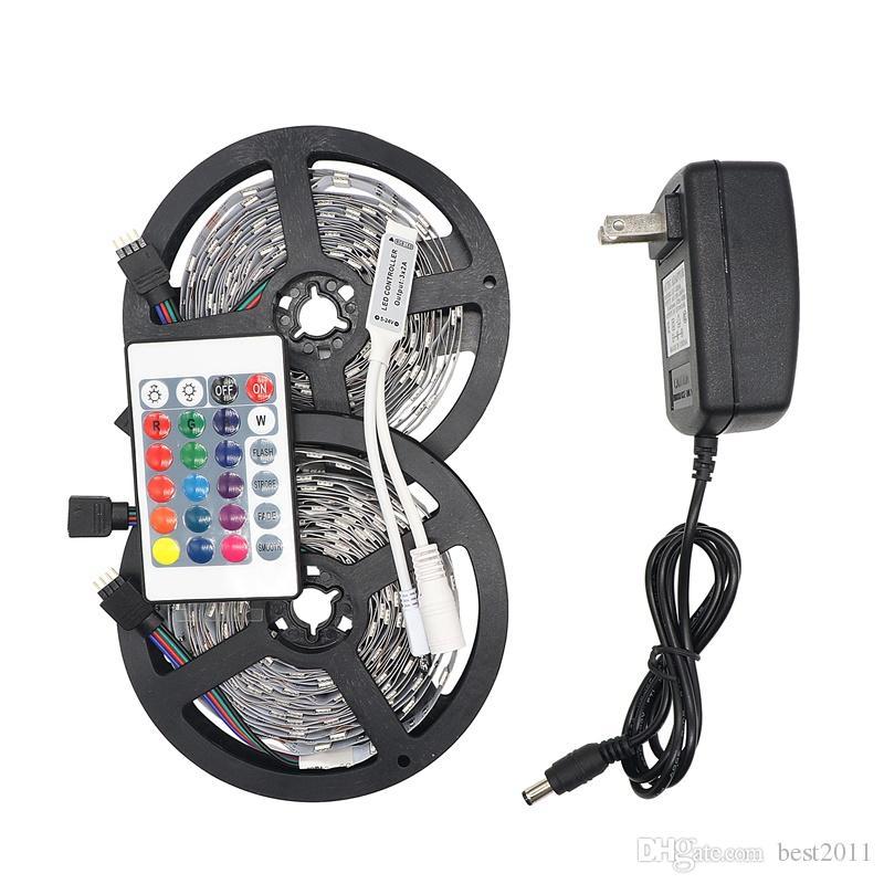 RGB LED Şerit Işık 5050 5 M 10 M IP20 LED Işık RGB LEDS Bant LED Şerit Esnek Mini IR Denetleyici DC12V Adaptörü Seti