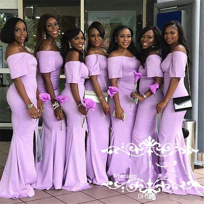 2018 New African Mermaid Pink Bridesmaid Dresses Off The