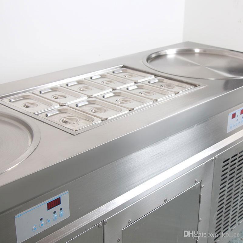 Kostenloser versand nach tür USA WH doppel 20 zoll eiswannen mit 10 kühlung tank roll eismaschine braten eismaschine mit kältemittel