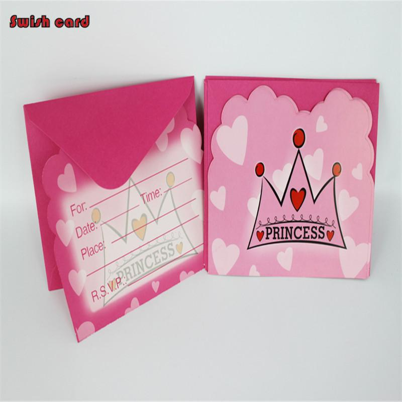 Wholesale Blue Crown Pink Princess Party Invitation Cards For Kids
