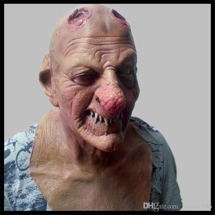Horror Zombie Latex Mask Realistic Scary Bloody Head Rubber Masks Full Face Halloween Masqueradde Party Cosplay Props Adult Size