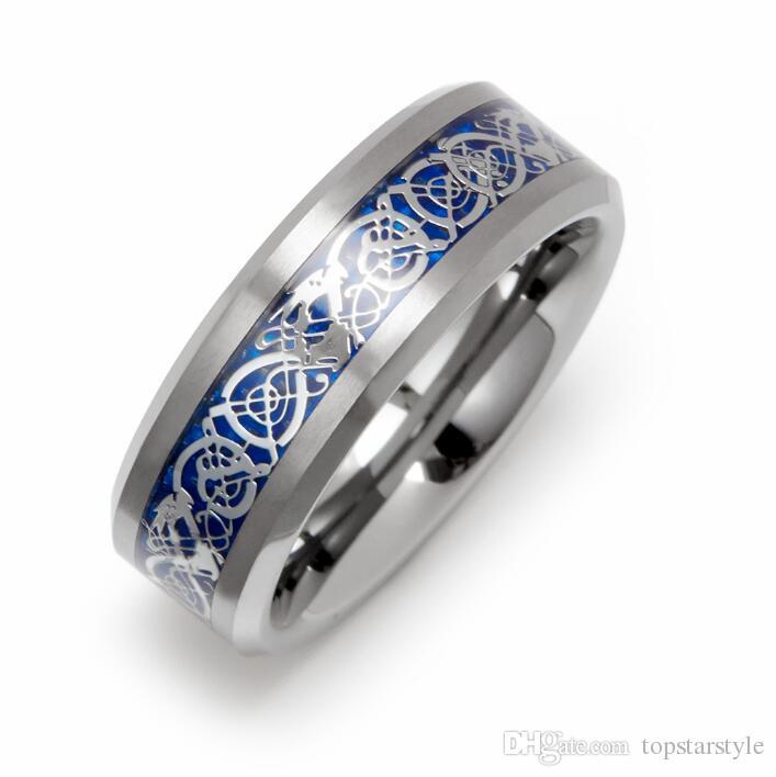Dragón chino Anillo de joyería de moda de 8 mm Anillo de carburo de tungsteno Fondo azul con incrustaciones de dragón de plata para hombres y mujeres TUR-005