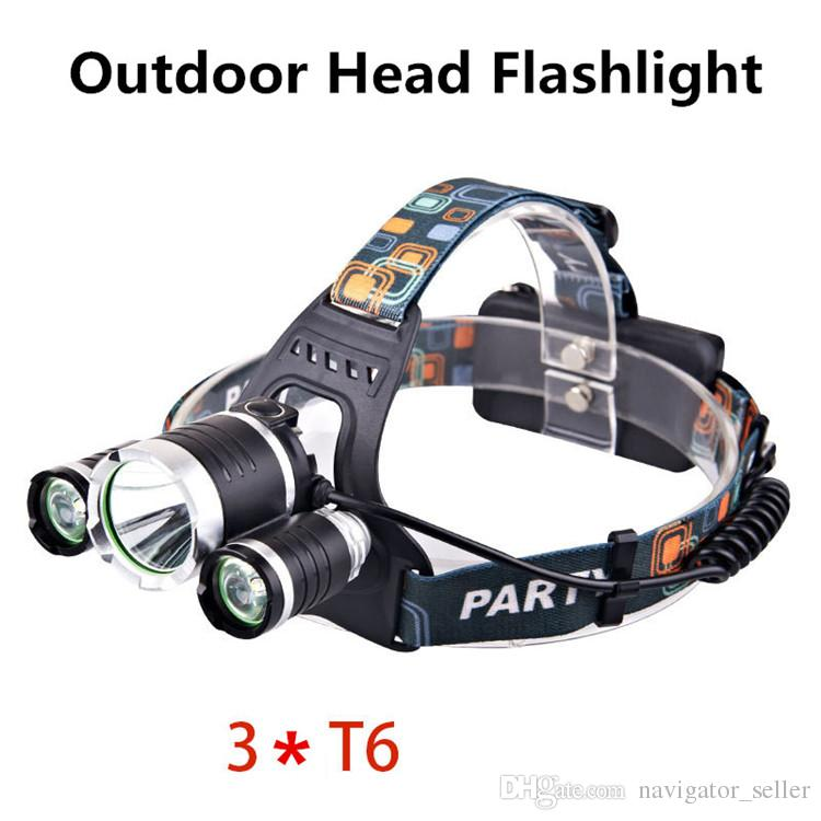 Outdoor Gear Head Flashlights SOS Mountaineer Hiking Camping Fishing Strong LED Light Electric Torches T6 Lamp Battery Charger Headlamps