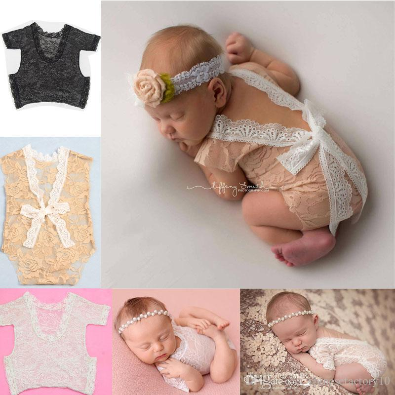 a4590f7fcb84 2019 Ins Newborn Baby Lace Romper Photography Props Infant Jumpsuit Photography  Clothing 0 3 Months Baby Bowknot Clothes From Chinesefactory10, ...