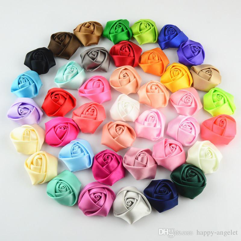 Rosas Flores Satin Ribbon artesanal quatro centímetros crianças Mini Rosette da menina de flor Para o casamento de Natal Acessórios de cabelo Sem grampo de cabelo HT2132
