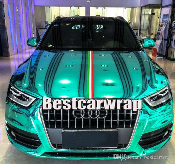 Green Chrome Mirror Vinyl Wrap Film Sticker Decal Bubble Free Air Release Custom