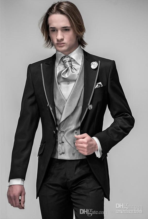 Nach Maß Slim Fit Bräutigam Smoking Schwarz Beste mann Spitze Revers Groomsman Männer Hochzeit Anzüge Prom / Form / Bräutigam Jacke + Pants + Tie + Vest