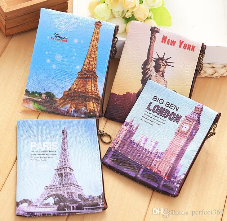 NEW Vintage tower printing Coin purse key holder wallet hasp small Christmas gifts bag clutch handbag 4 style mix
