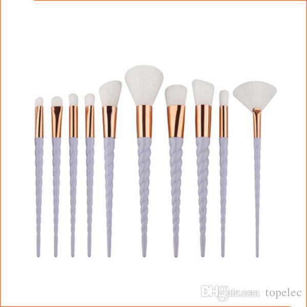 10 adet Set Oval Makyaj Fırça Eyeliner Kaş Makyaj Fırçalar Maquillaje Tıraş Toptan # B001