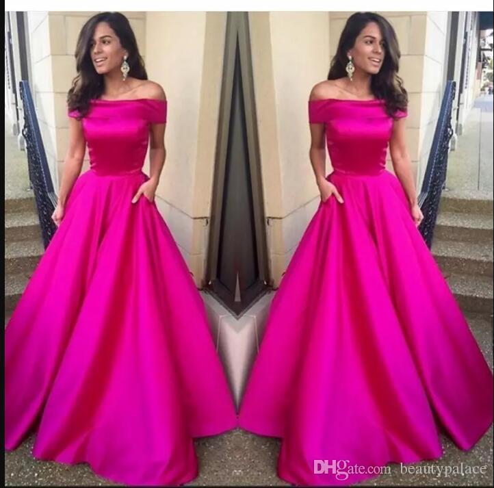 Caliente fucsia rosa vestido de fiesta fuera del hombro una línea de vestido de noche Nueva llegada vestidos de fiesta por encargo vestidos de noche formales