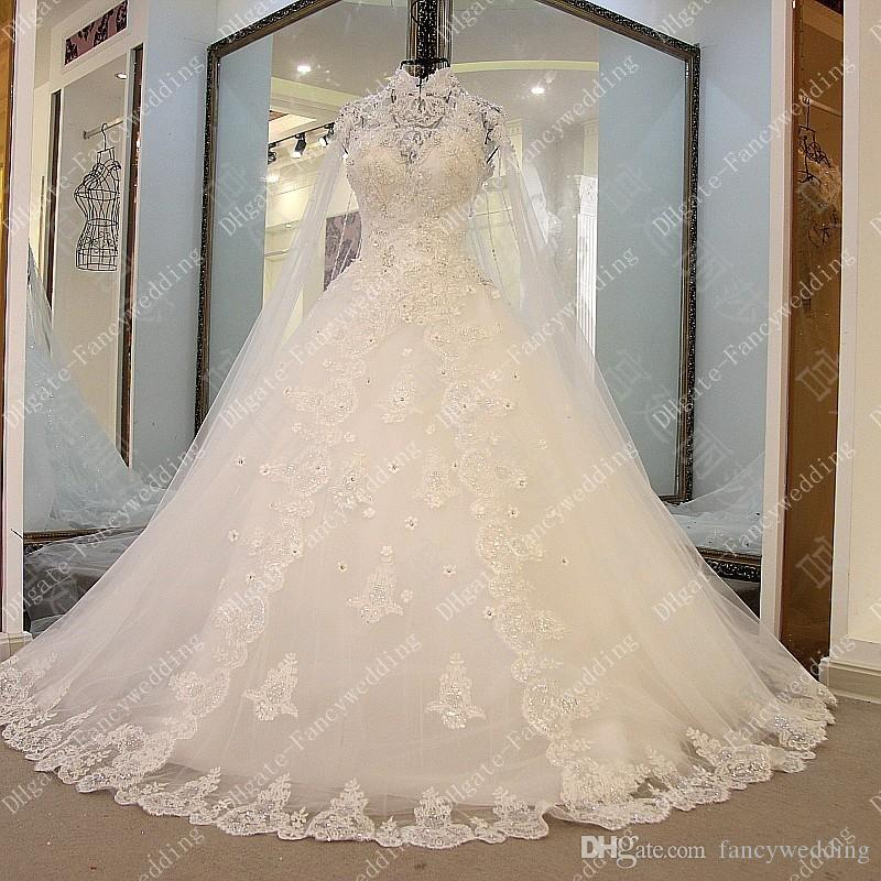 Arabic High Collar Crystal Hand Made Flower Tiers Applique Lace Hollow Illusion Elegant Ball Gown Wedding Dress