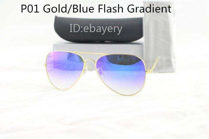 Отличное качество мужские женские дизайнерские пилотные солнцезащитные очки Солнцезащитные очки Золотой кадр синий зеркало Flash градиент объектива 62 мм с футляром коробка