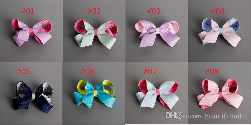 Girls 8.5-9CM Double Color Hair Bows With Clip Boutique Safe Barrette Hair Clip Hairpin Baby Hair Accessories Beautiful HuiLin B12