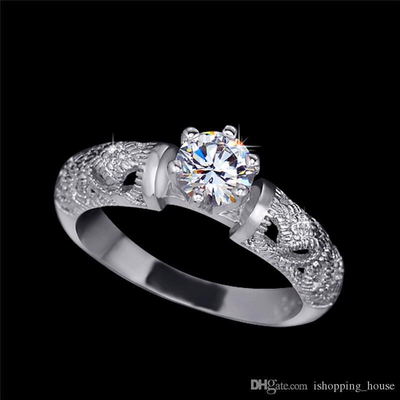Korean Trendy Silver Plated Hollow CZ Couple Rings for Lovers Engagement Wedding Ring for Men Women HR-201