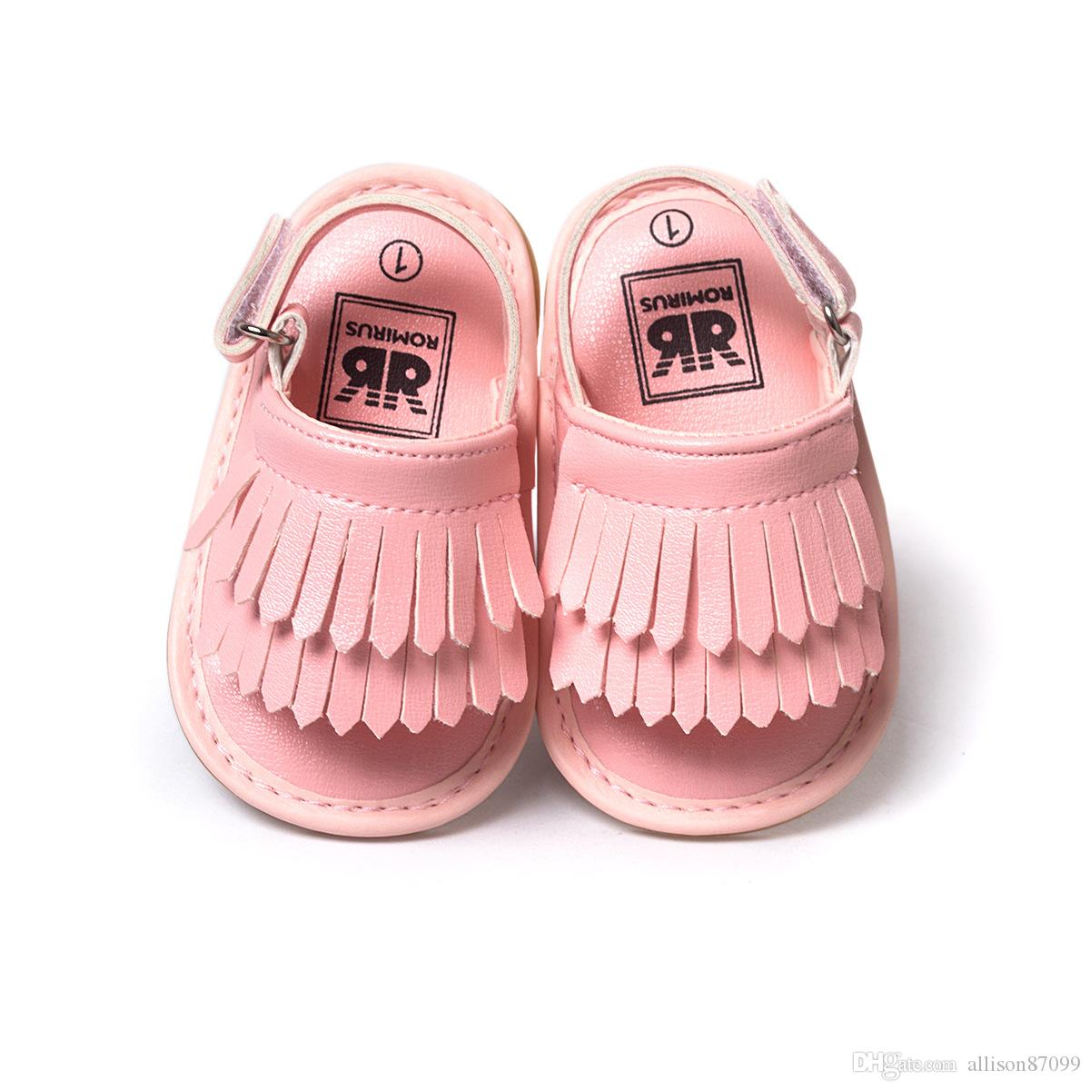 2017 New Baby sandals shoes Gladiator Tassels Summer soft sole Gold Hotsale nubuck leather Baby girls shoes 0-6 6-12 12-18 months Free DHL