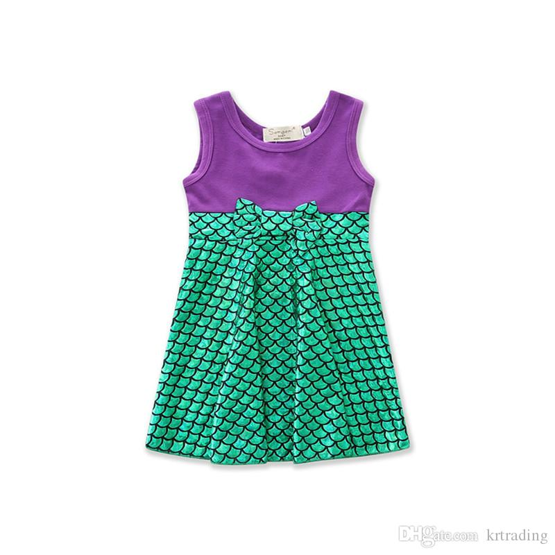 4 ألوان الفتيات لطيف الأميرة اللباس الاطفال لطيف سترة من القطن تنورة سنو وايت بيل حورية البحر الملابس ل 2-7T