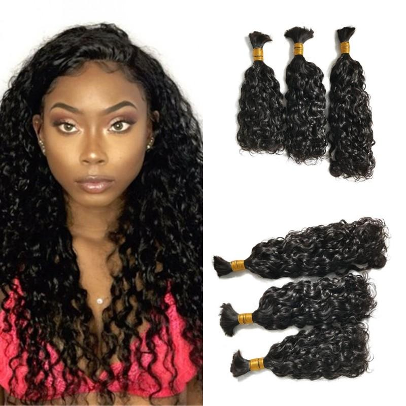 Water Wave Brazilian Human Hair Bundles Hair Extensions Natural Color 100g   Bundle Human Hair Bulk for Braiding FDSHINE Water Wave Human Hair  Extensions ... 059e20915e9f