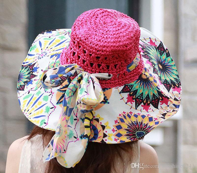 Großhandel-Stilvolle 2017 Sommer Floppy Anti UV Sonnenhüte Für Frauen Faltbare Floppy Sun Cap Breiter Krempe Hut Strand Headwear für dame