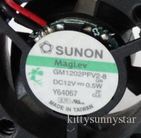 SUNON 2510 12 V 0.5 W 2.5 CM GM1202PFV2-8 2 fios de ventilação