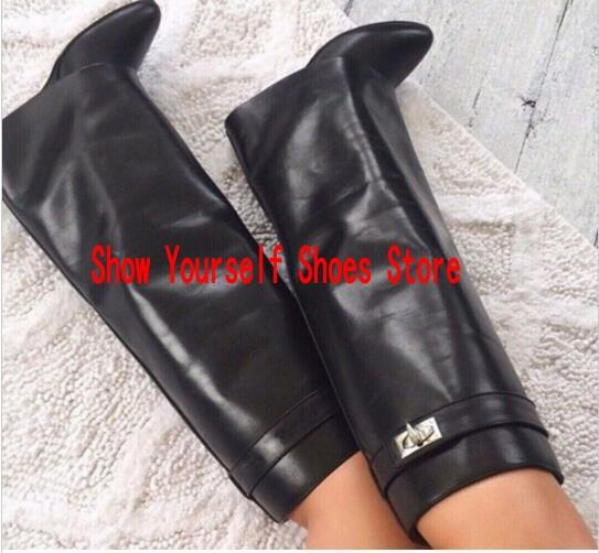 Belt Buckle Wedge Boots Women Sexy Pointed Toe Lock Fold Knee high Leather Boots Height Increasing Long Winter Sprinhunky heels Martin Boots
