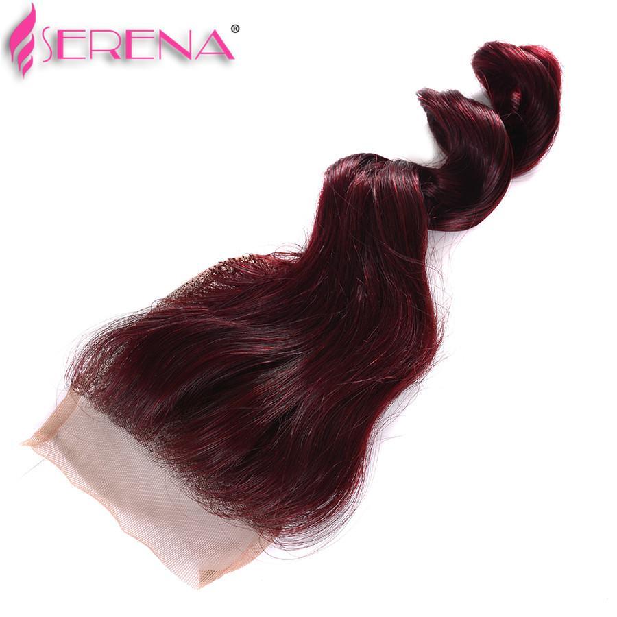 브라질 버진 머리 폐쇄 99J 머리를 가진 느슨한 웨이브 99j 머리 와인 레드 4 묶음 4x4 클로저 부르고뉴 붉은 인간의 머리카락 번들