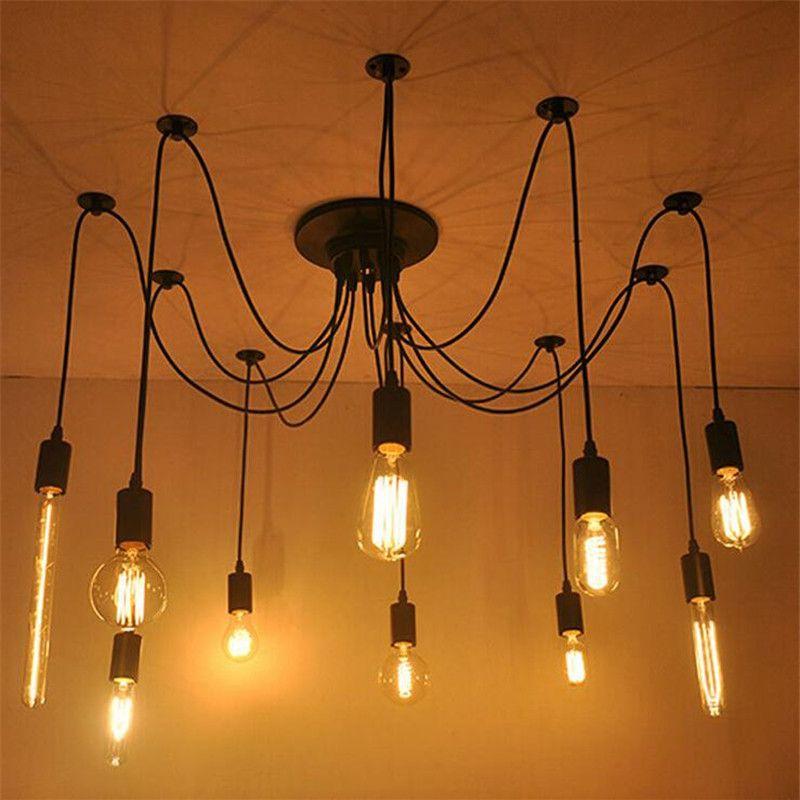 Ceiling Lights Lights & Lighting Modern Black 4 Head Ceiling Lights E27 Bulb Led Lamps Living Room Iron Art Ceiling Lamps Loft Industry Led Lustre Ceiling Lamp Be Friendly In Use