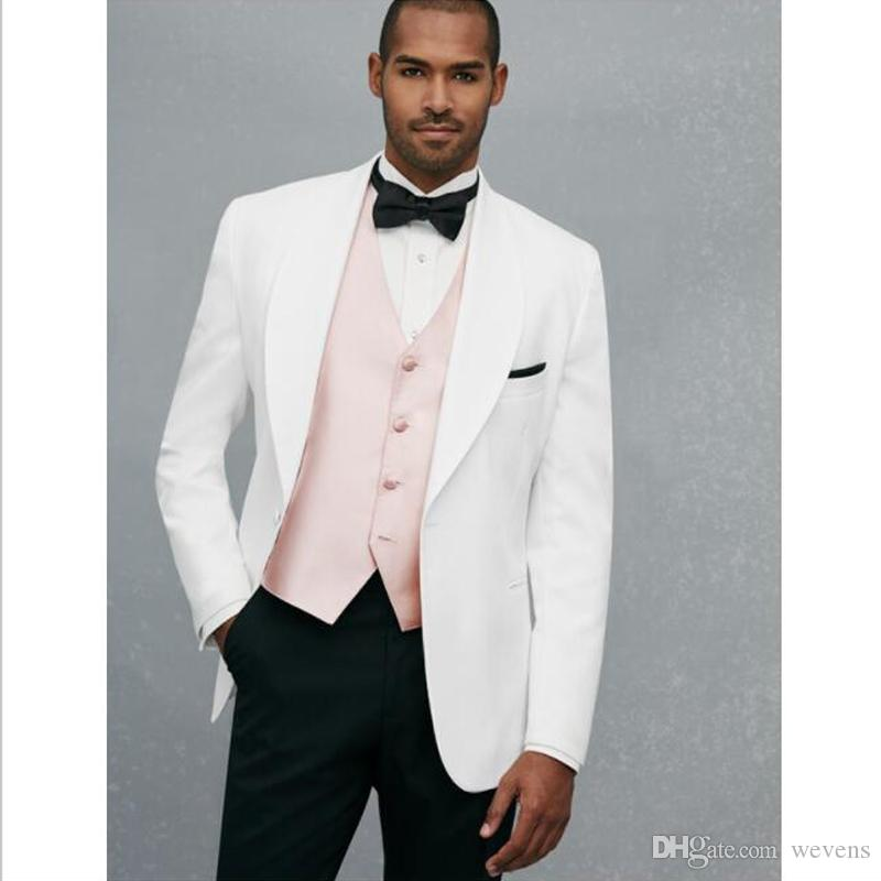 1bca6fc3683 Handsome White Wedding Tuxedos 2017 Slim Fit Suits For Men Pink Jacket And  Black Pants Groomsmen Suit Cheap Prom Formal Suits Mens Dress Suits Mens  Formal ...