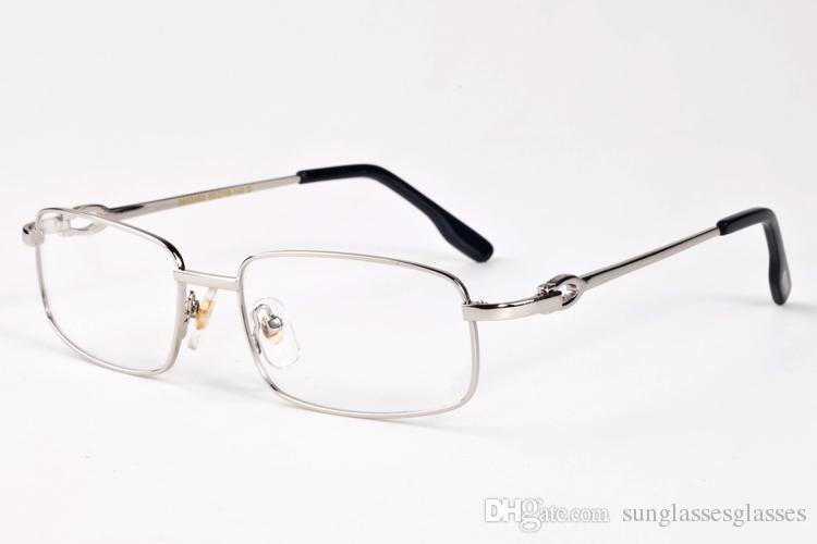 Weinlese-Mens-Büffelhorn-Gläser 2018 Marken-Sonnenbrille der Frauen voller Rahmen-Goldsilberrahmen-klare Linsenbrillen mit Kasten