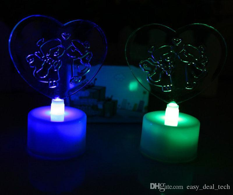 2017 LED Love Heart Candle Light Electronic Candle Light Flameless For Wedding Party Decoration Supplies Halloween ZJ0489