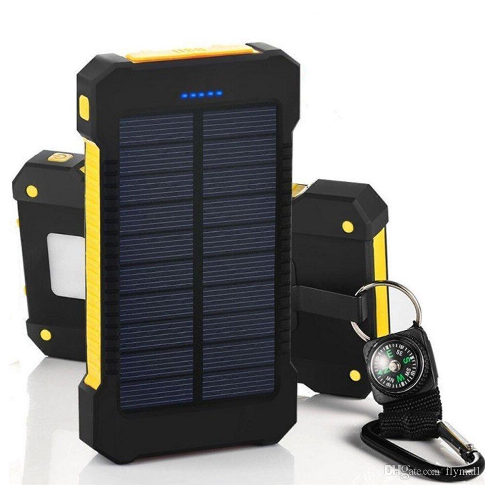 Banco de energia solar Banco de energia USB duplo 20000mAh Bateria externa Carregador portátil Bateria Externa Pack para iPhone Samsung Mobile