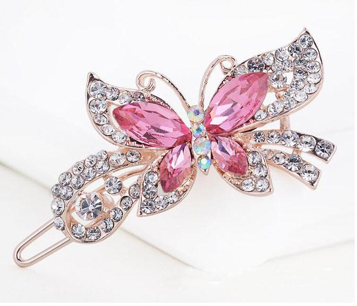 Fashion Women Crystal Diamond Butterfly Hairpins Hair Clip Barrette Hair Band Accessories
