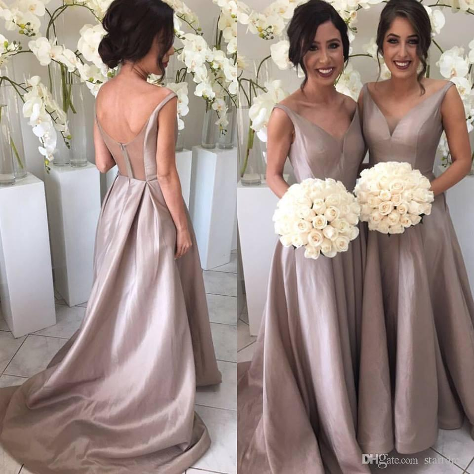 Brown Cheap Bridesmaids Dresses Sexy V Neck Taffeta Long Bridesmaid Dress Spaghetti Country Bridesmaid Dresses Beach Wedding Guest Dresses
