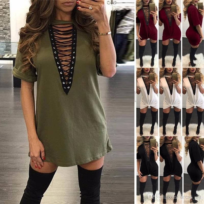 Pullover T Shirt V Neck Short Dress Lace Up Plunge Shirt Loose Shirt  Dresses V Neckline Short Sleeve Oversized Clothes For Black Women Casual  White Summer ... c93c3d4bbc66