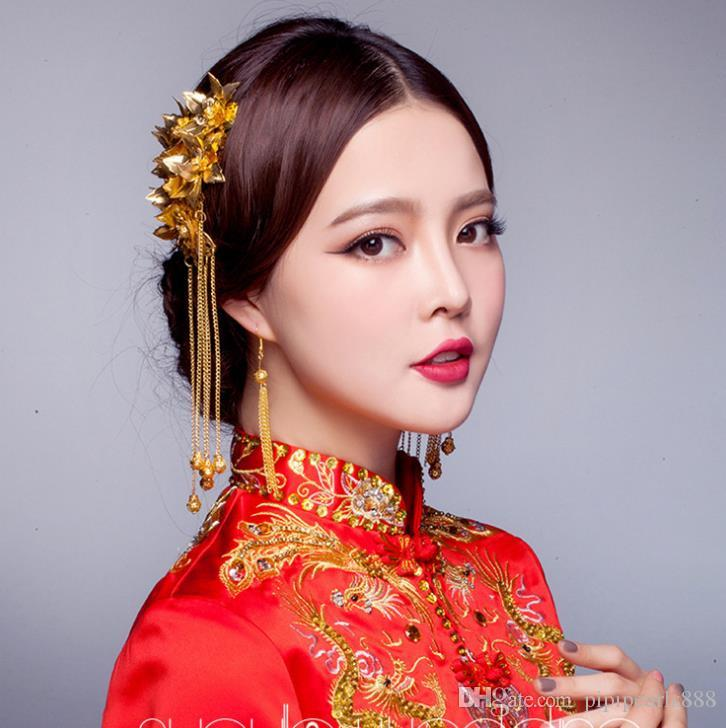 Asian Wedding Hairstyle: 2018 Bride Costume Headdress Chinese Wedding Hair