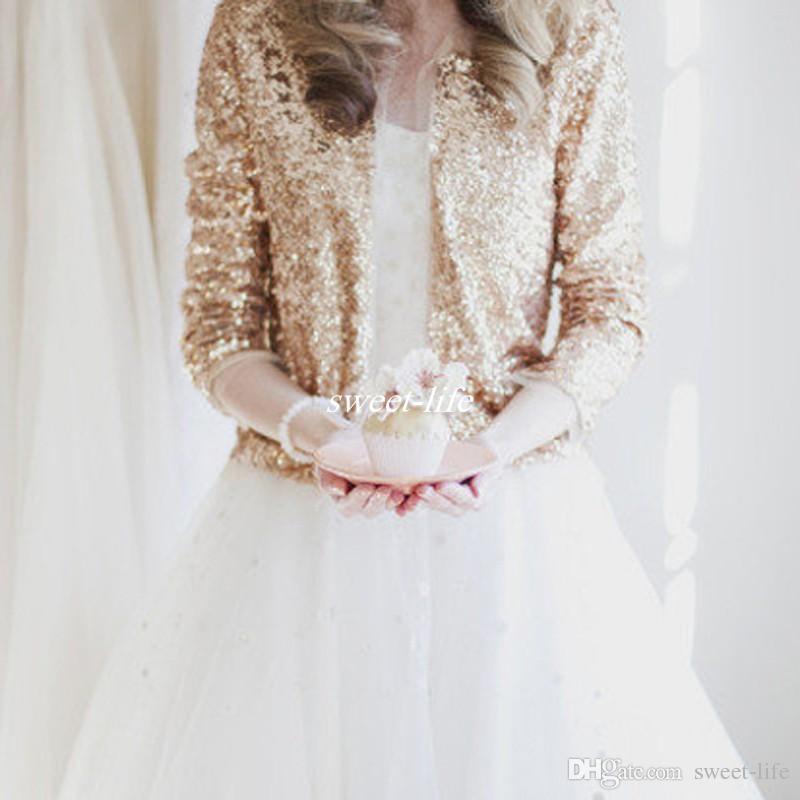 bfe10d0437 Luxury Shiny Long Sleeve Rose Gold Sequined Bridal Jackets 2017 Shrug  Formal High Quality Wedding Coats Boleros Wedding Accessories